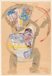 Lothar Fischer, Bogenschütze, 1962,  Aquarell auf bräunlichem Papier,, 75 × 50 cm