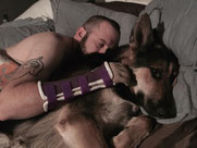 Josh Brown, German shepard, pet therapy