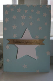 Himmelblaue Karte mit Sternen - Stampin´Up! Demonstratorin Patricia Stich