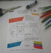 Benjamin a réalisé le DIY Papercraft Façon Tiny house de l'illustratrice Cloé Perrotin pour un contenant en papiers découpés