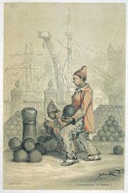 Jules Noël, Les Bagnes, Condamnés à temps, 1844, crayon sur papier, collection musée des beaux-arts de Brest métropole.