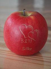 Logo Obst, Logo Apfel, Obst mit Logo, gelaserte Äpfe