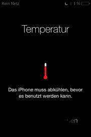 iPhone Warnung Anzeige Hitze Wärme Temperatur Das iPhone muss abkühlen, bevor es benutzt werden kann.