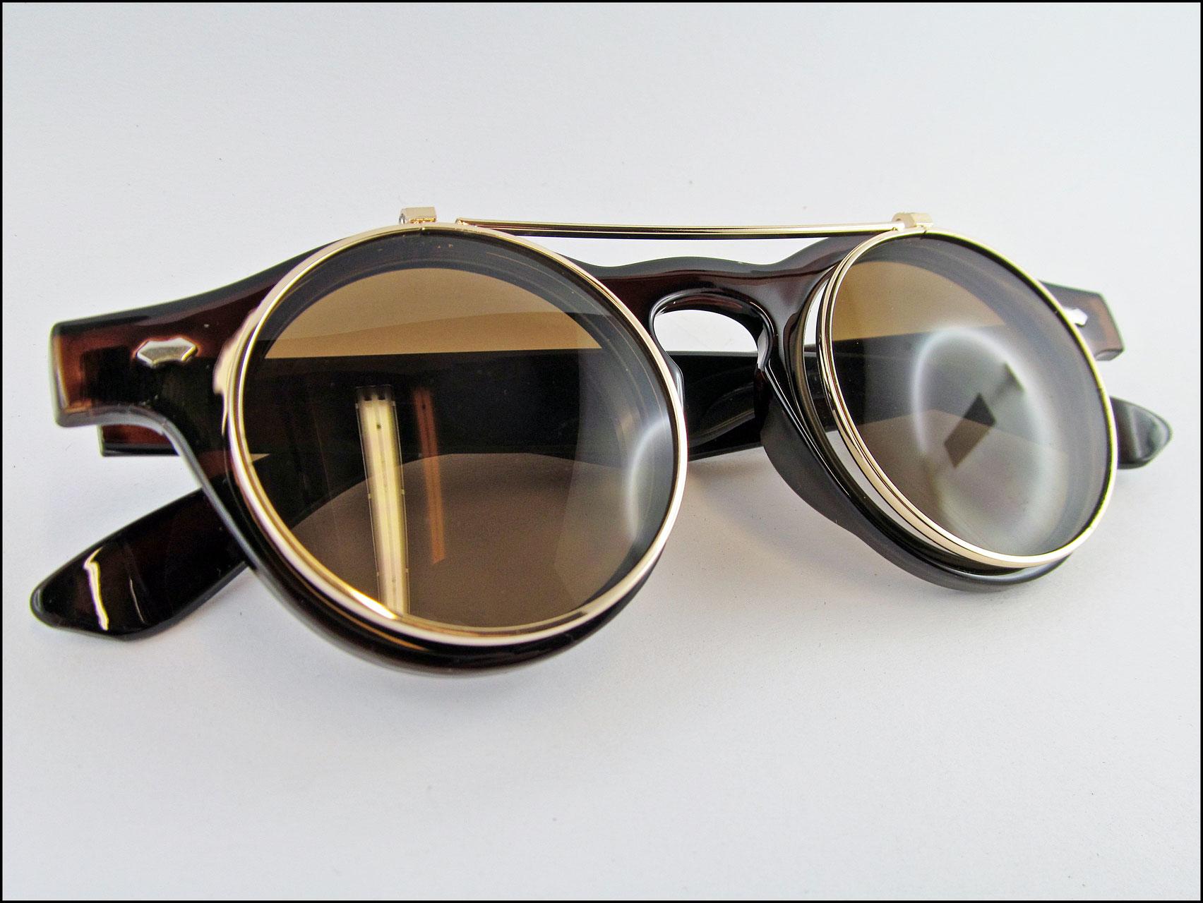 Steampunk Sonnenbrille braun mit klappbaren Gläsern - Carol and Me ...