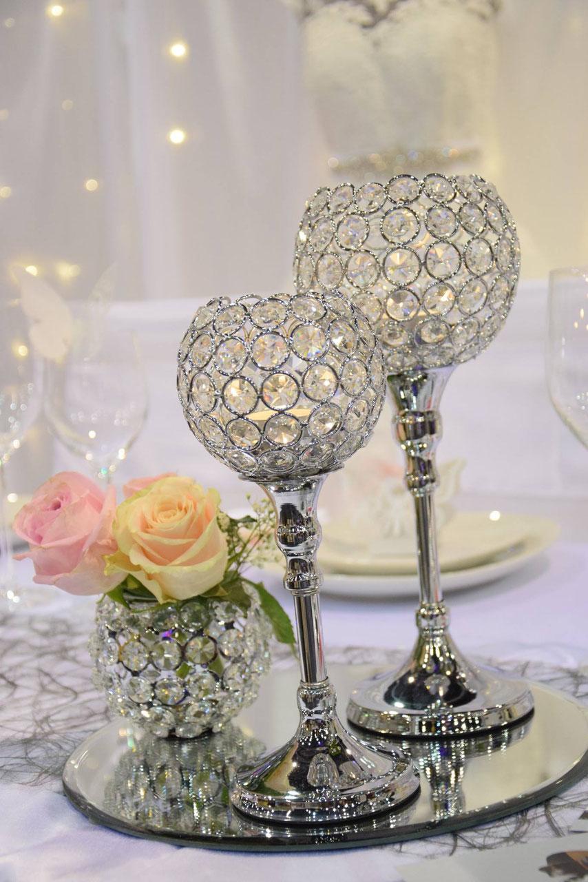 Kristall Deko kerzenständer miete tischleuchter silber mieten dekoration