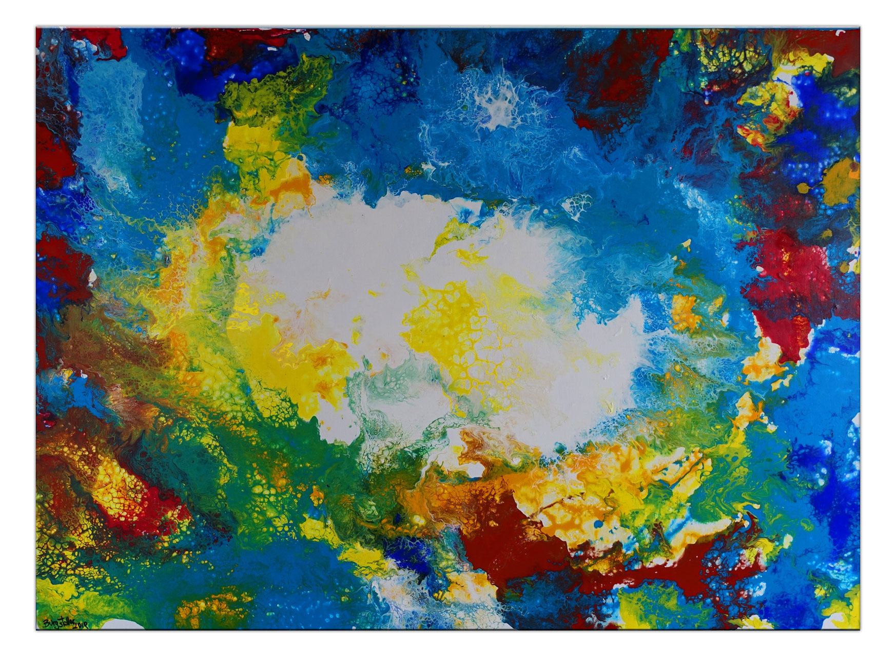 Ursprung Abstrakte Kunst Malerei Blau Gelb Wandbild Burgstaller