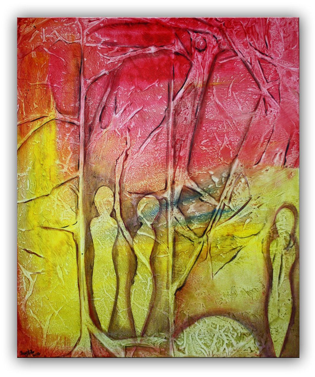 Figuren Wald Abstraktes Gemalde Rot Gelb Burgstaller