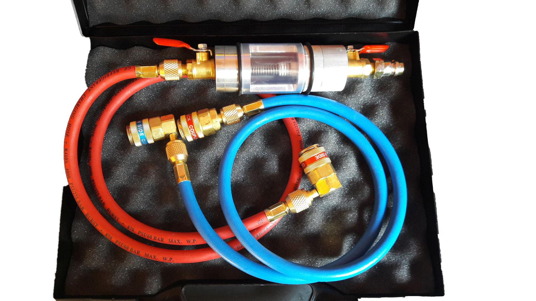 Lecksuchger/ät R134a R12 KlimaanlageK/ältemittel Klimaanlage A//C-System Lecksucher Kit 21 LED UV-Taschenlampe Schutzbrille UV-Farbstoff-Werkzeugset Kfz-Klimaanlage Reparaturwerkzeug