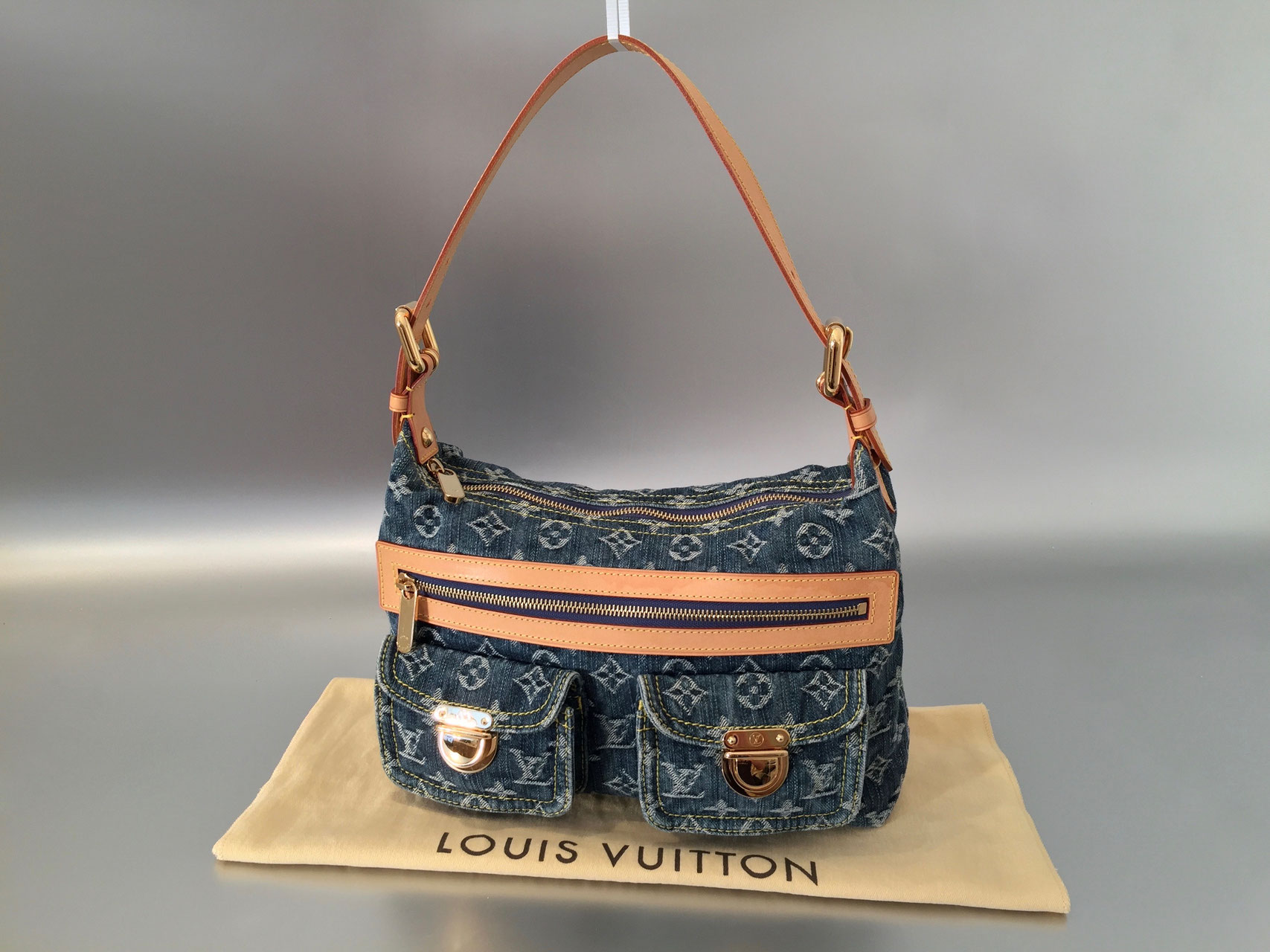 louis vuitton monogram denim baggy pm in blau ankauf verkauf second hand designertaschen und. Black Bedroom Furniture Sets. Home Design Ideas