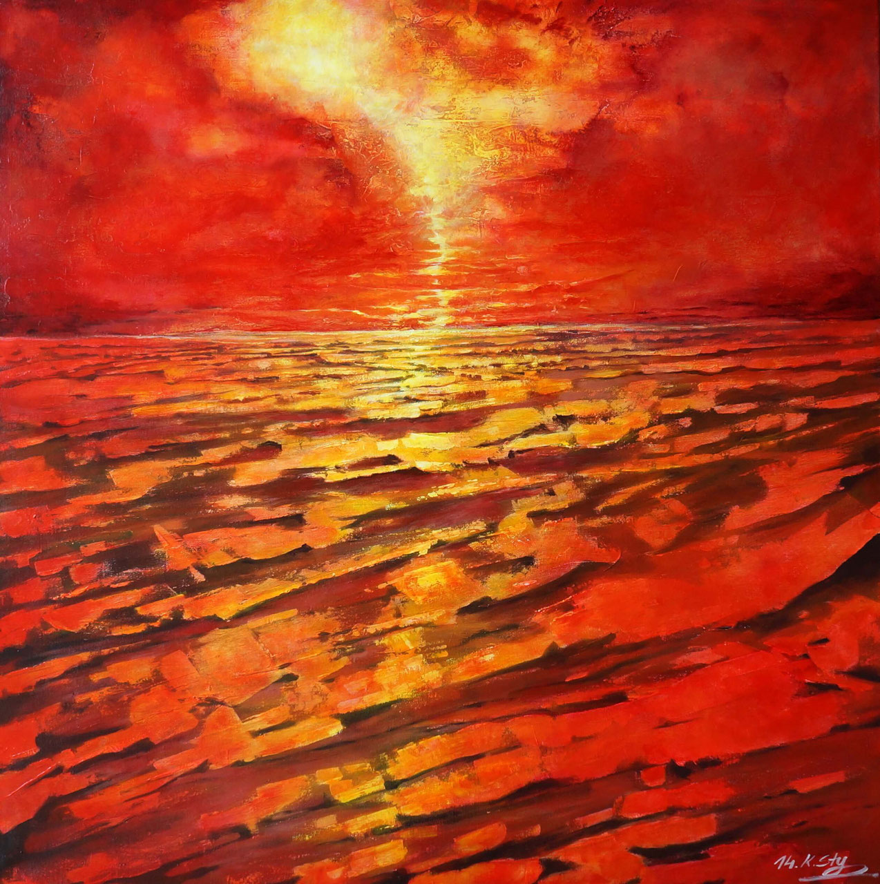 K. Styrnol feurige Landschaft Acryl auf Leinwand Gemälde Original ...