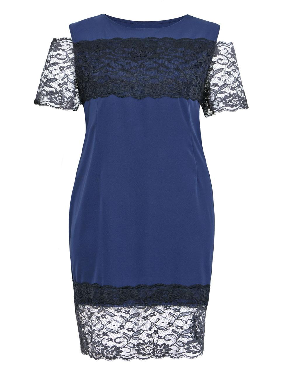 Elegantes Kleid dunkelbau mit schwarzer Spitze - Mypepita.com
