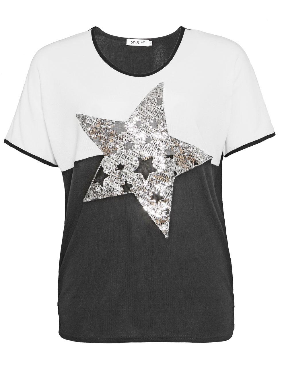 4241637e5eac00 T-Shirt schwarz-weiss mit Paillettenstern - Mypepita.com