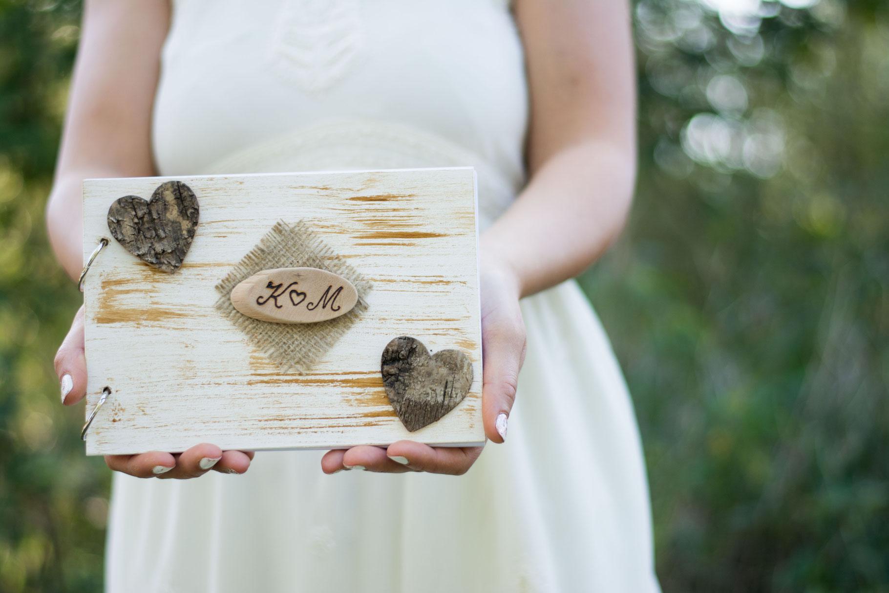 Vintage Gastebuch Hochzeit A5 Aus Holz Happy Wedding Art