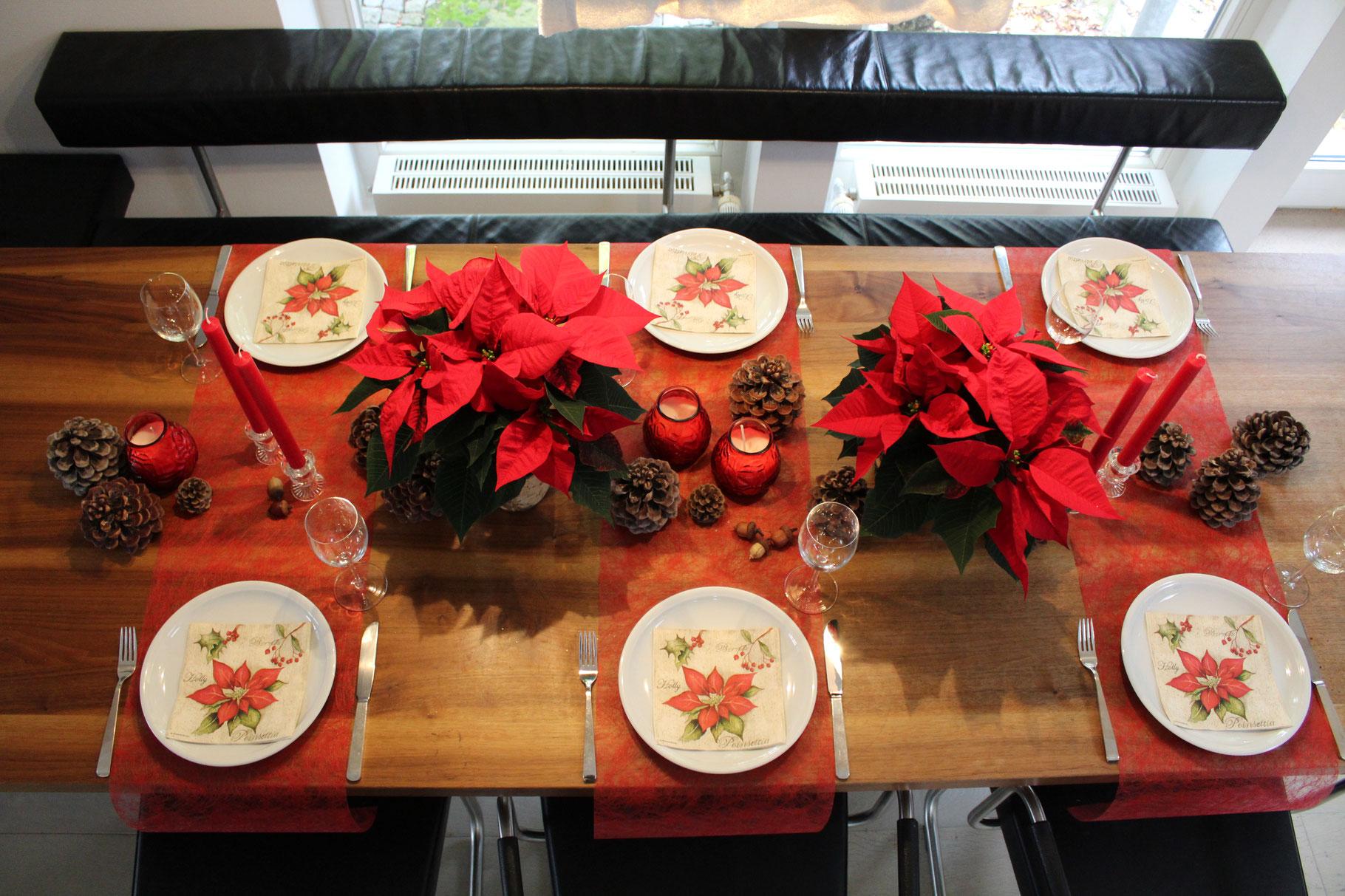 Tischdeko Mit Weihnachtssternen