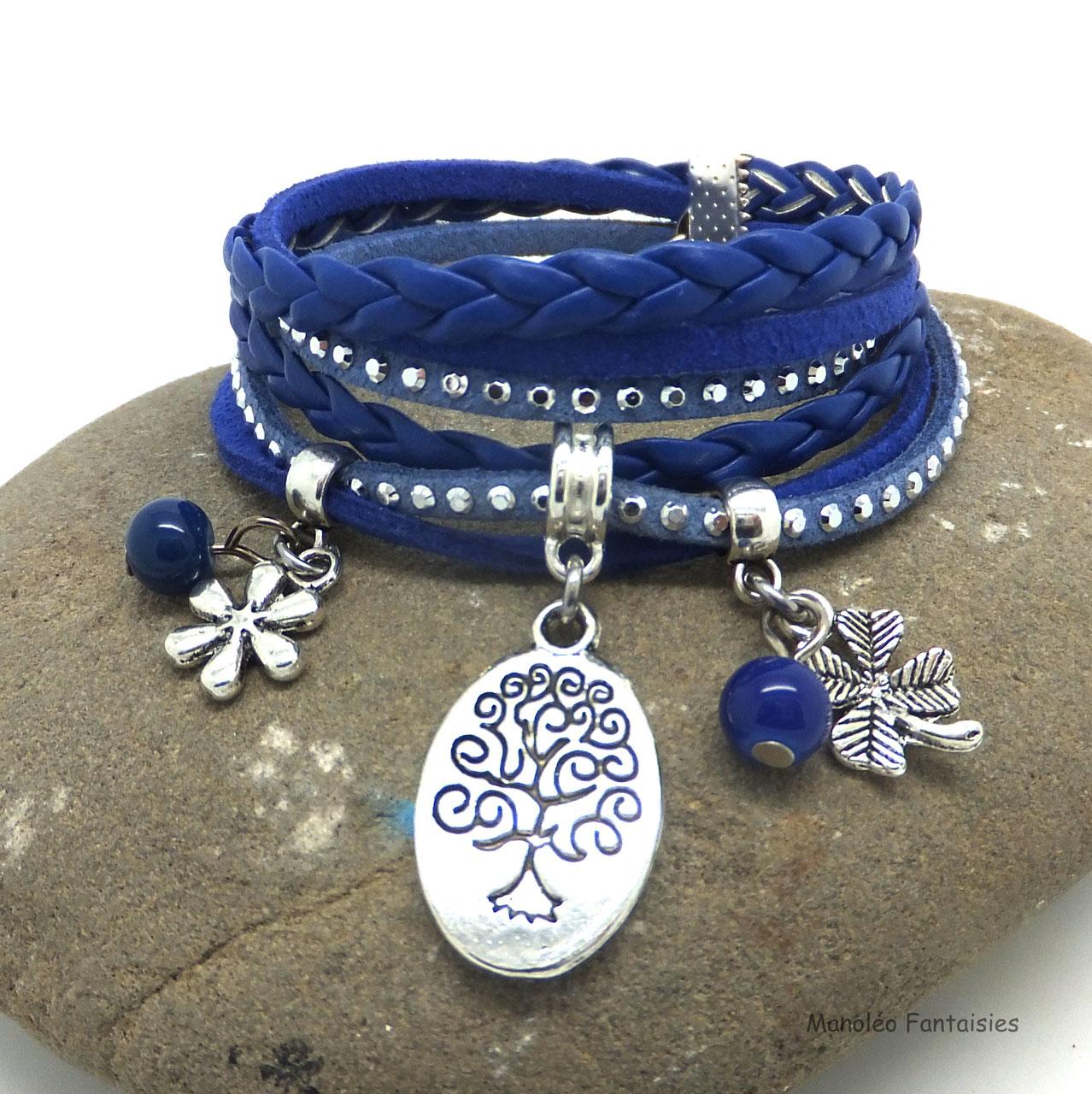56363e3a8f1606 Bracelet ARBRE DE VIE bleu - Bracelet deux tours