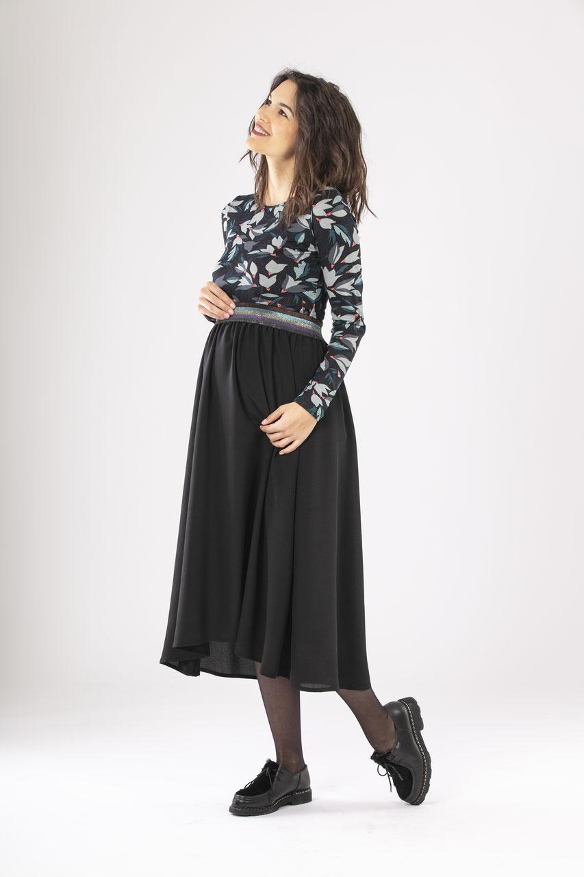 Miss N MAM Jupe longue /évas/ée en jersey pour femme