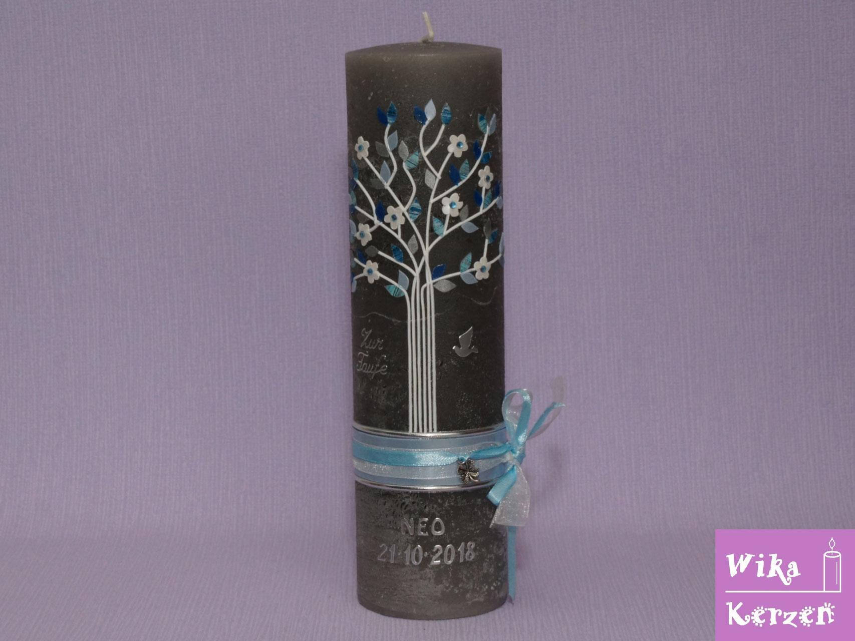 Taufkerze Kerze zur Taufe Lebensbaum gold Taufkerzen Jungen Mädchen Baum