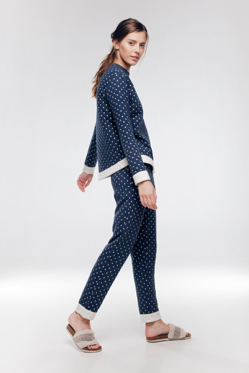 sports shoes 0825a 25876 Pyjama Damen mit Sterne im blau