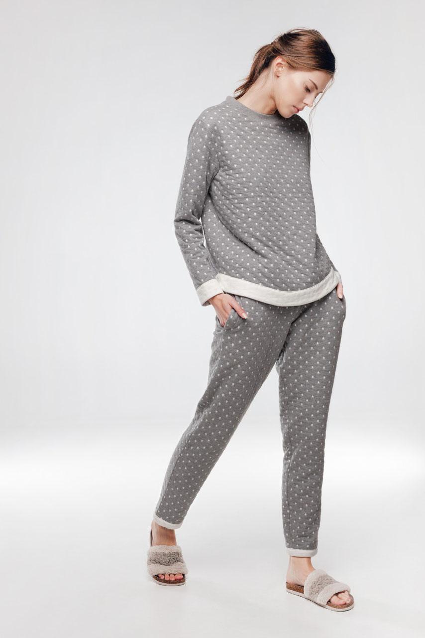 info for 647e7 7f77c Pyjama Damen mit Sterne im grau
