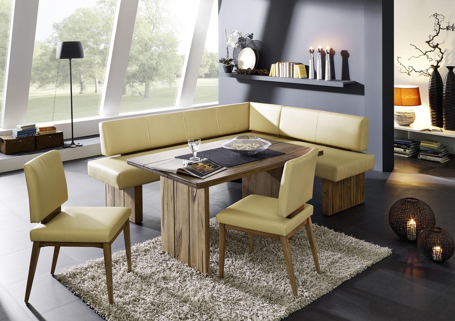 Eckbank massivholz nach maß  Edle Eckbank Echtleder - Naturnah Möbel - Moderne Massivholzmöbel