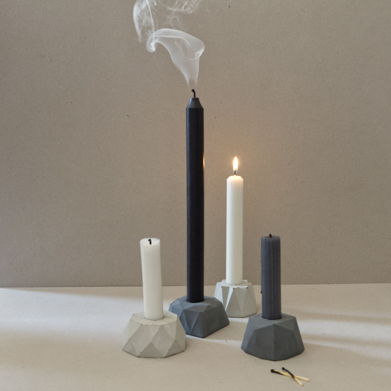Geometric Concrete Dinner Candle Holder Pasinga Photographs Design