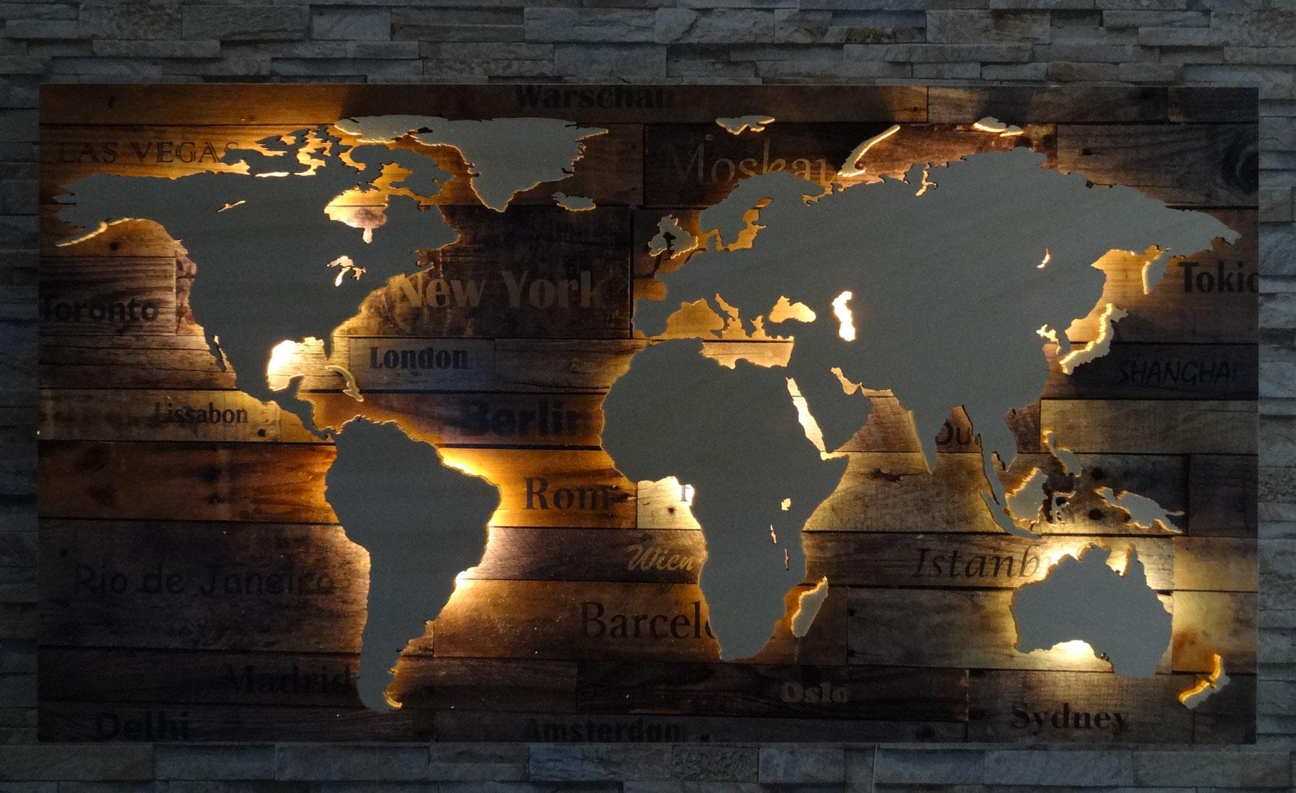 M L Xl Weltkarte Aus Holz Led Beleuchtung Stadte Ab 299 80