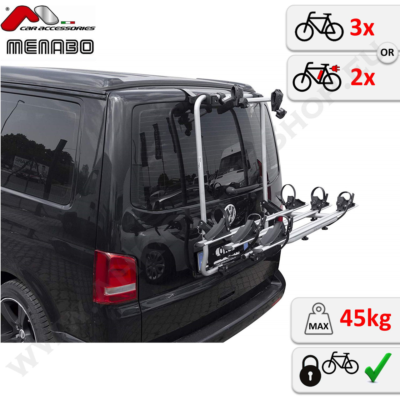 3 Fahrräder NEU PKW Menabo Fahrradträger Stand Up 3 VW Sharan Typ 7N