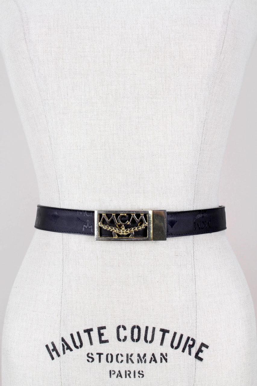 MCM Black Leather Monogram Visetos Silver Buckle Hook Belt