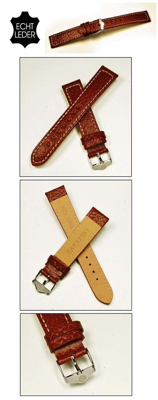 22mm braun Stahl-Schließe Echt Leder Uhren Armband Kroko-Prägung matt