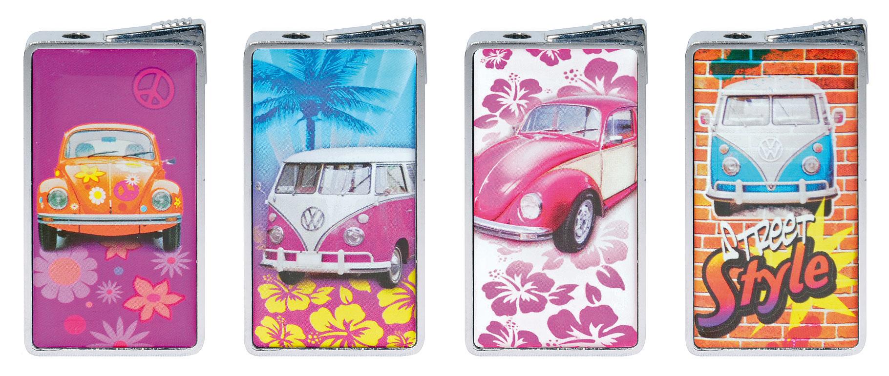 hochwertiges Feuerzeug in Geschenkbox Volkswagen GELB BLAU T1 T2 VW Bulli