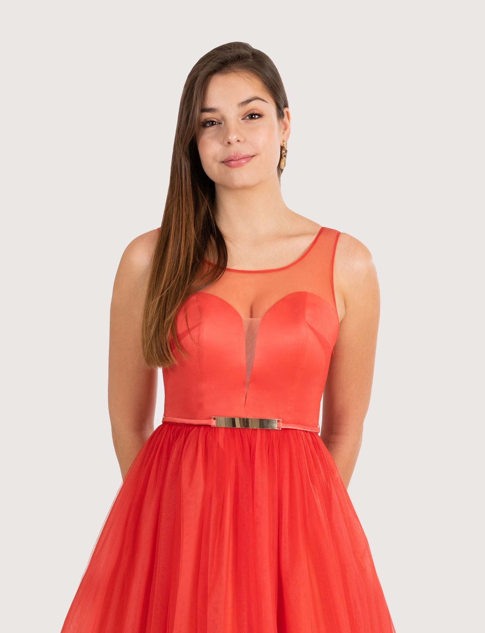 Orange rotes Ballkleid nach Maß ganz einfach online ...