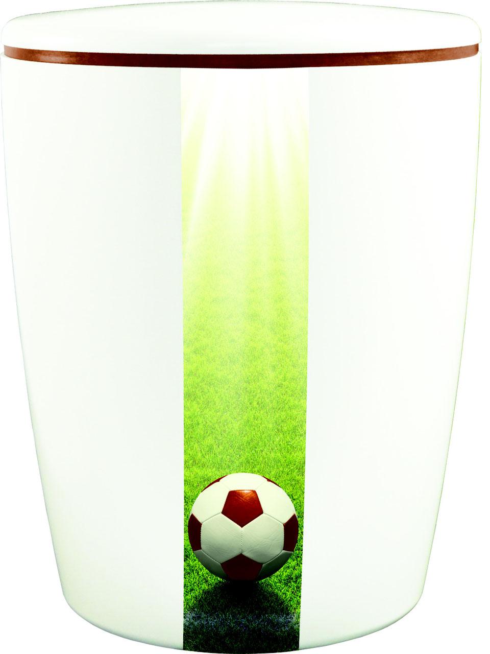 fussball urne / weiß - urne privat kaufen - welt-bestattung - freie