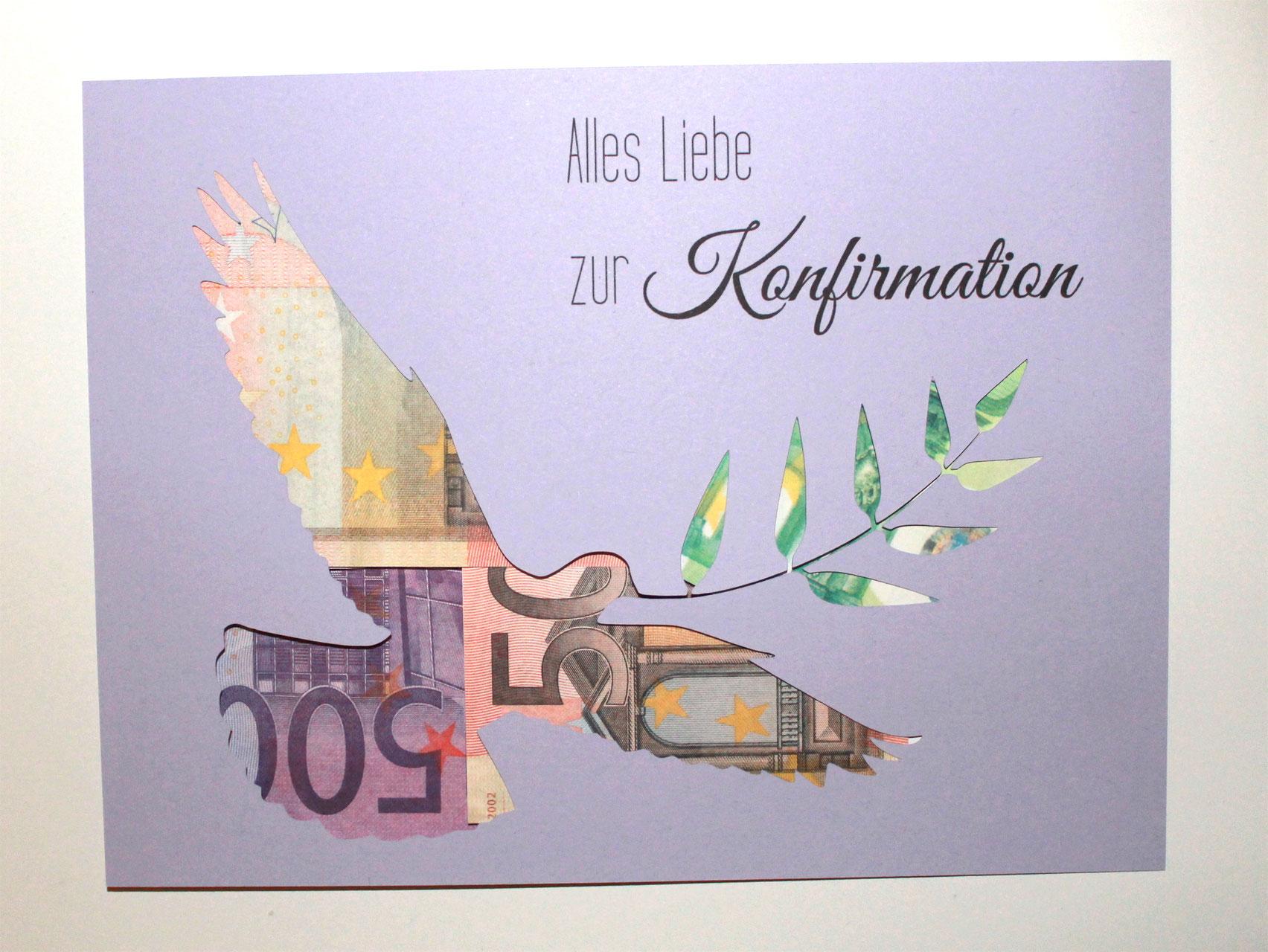 Geldgeschenk zur Konfirmation Farbwahl Taube Geld