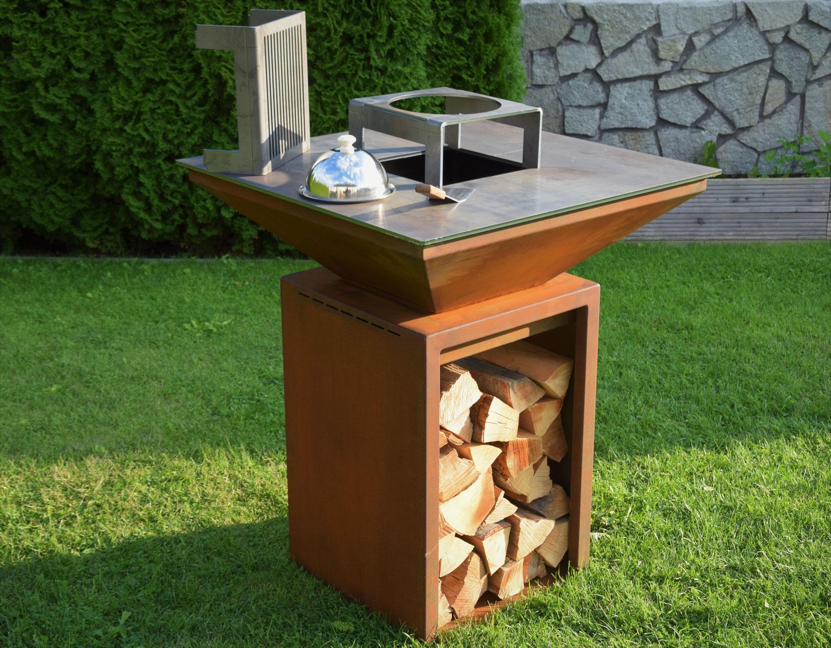 Feuerstelle Mit Grillplatte Artwerk Metallbau