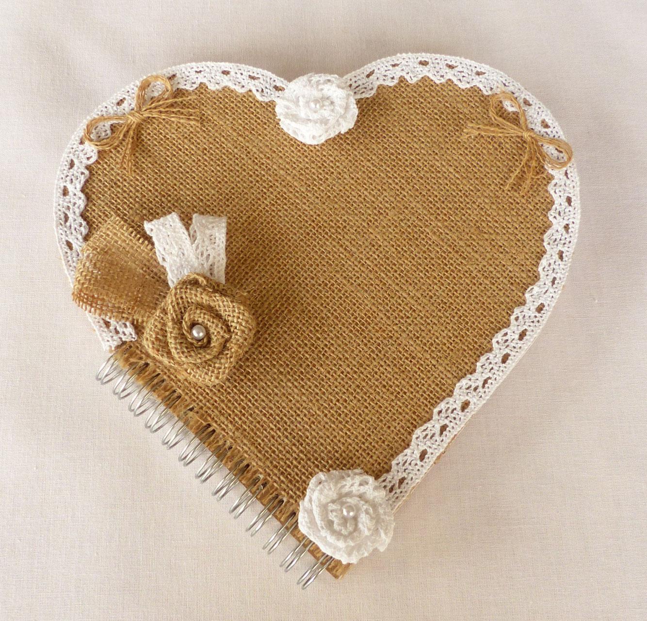 Livre d 39 or coeur pour mariage bouquets de fleurs eternels - Livre d or toile de jute ...