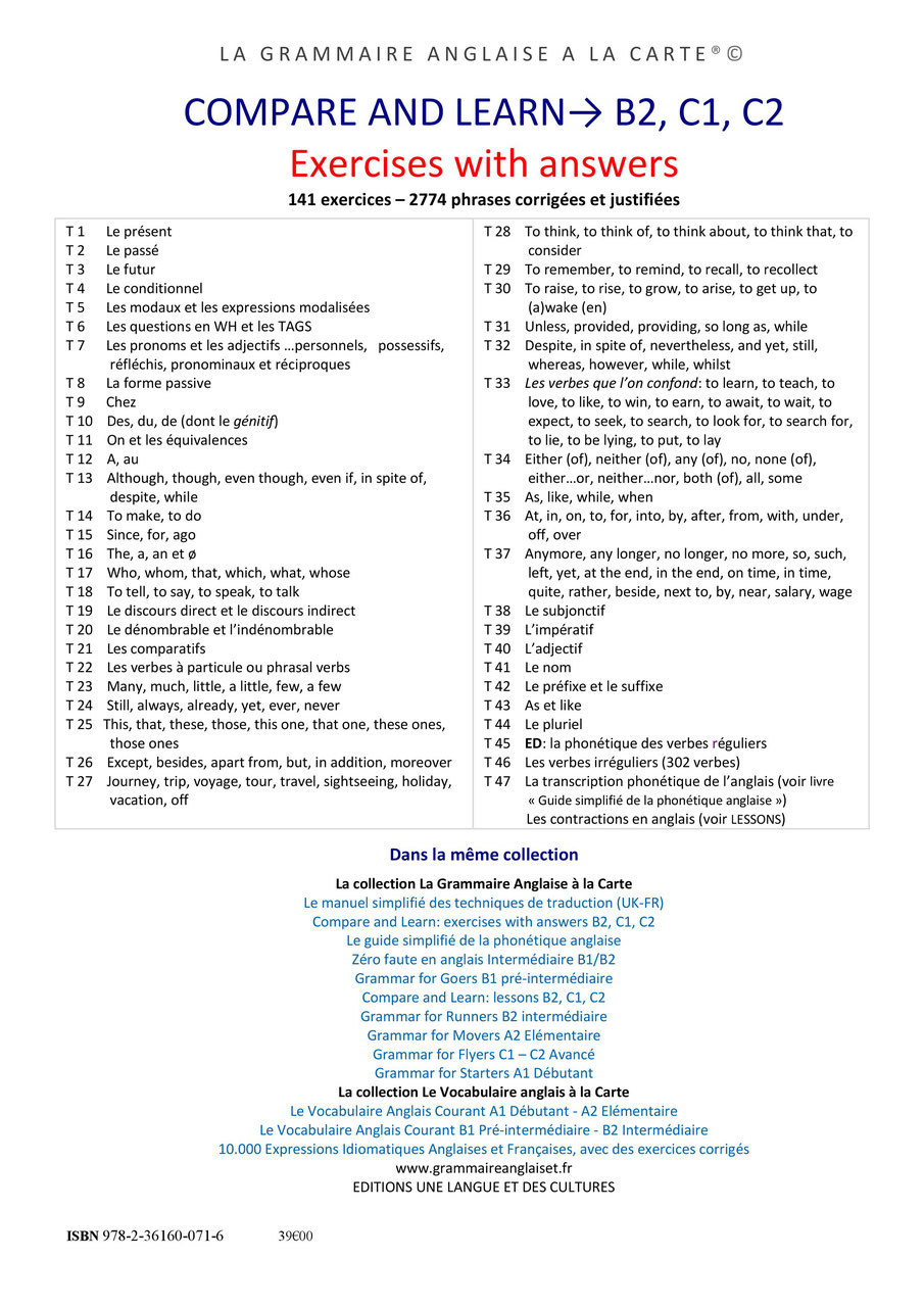 Des Exercices Corriges En Anglais B2 C1 C2 Grammaire Anglaise Vocabulaire Anglais Tous Niveaux