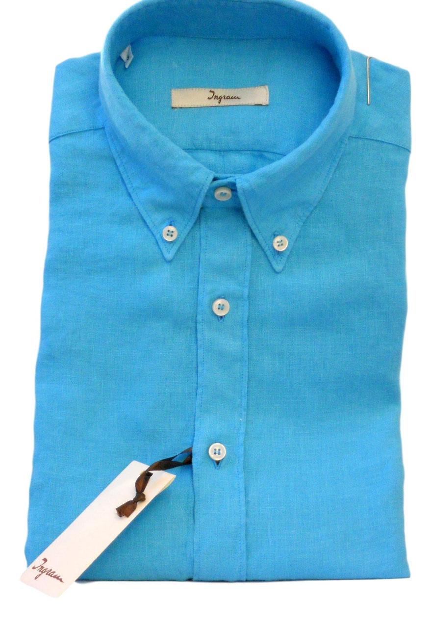 3085d29bd779b9 Camicia Ingram Manica Lunga Con Taschino in Puro Lino Lavato Effetto  Vintage Celeste Turchese