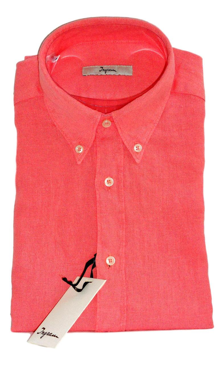 47f8b52d73a530 Camicia Ingram Manica Lunga Con Taschino in Puro Lino Lavato Effetto  Vintage Rosa Corallo