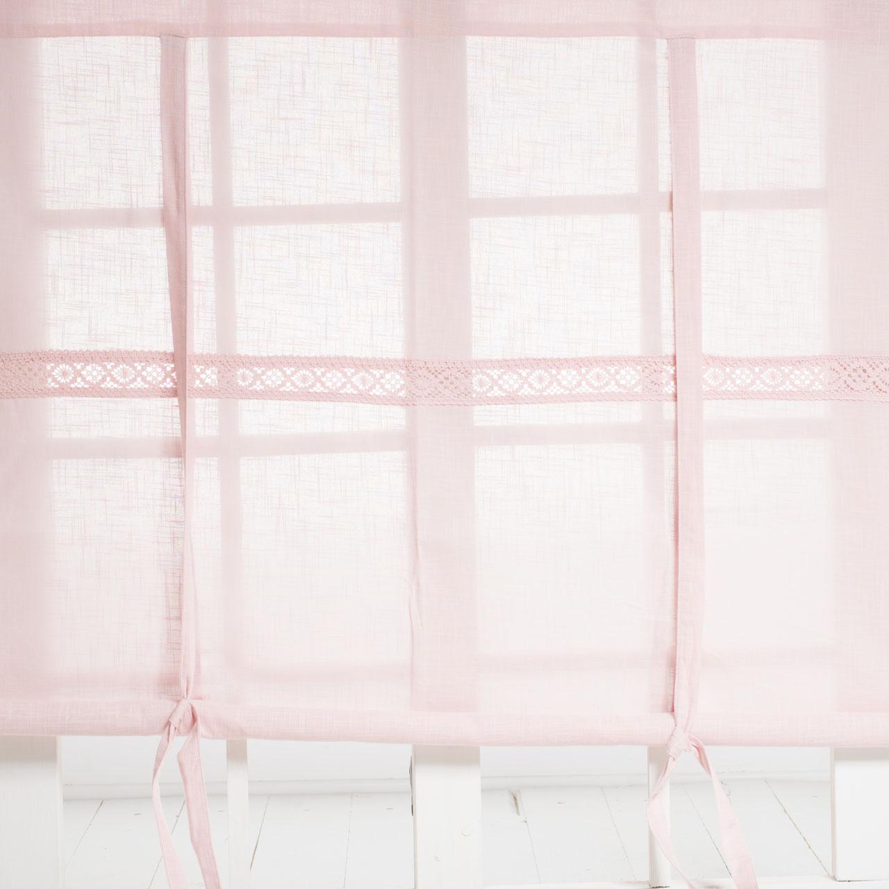 JULIA Rosa Raffrollo 160x120cm Vorhang Raffgardine Landhaus Shabby LEINENOPTIK