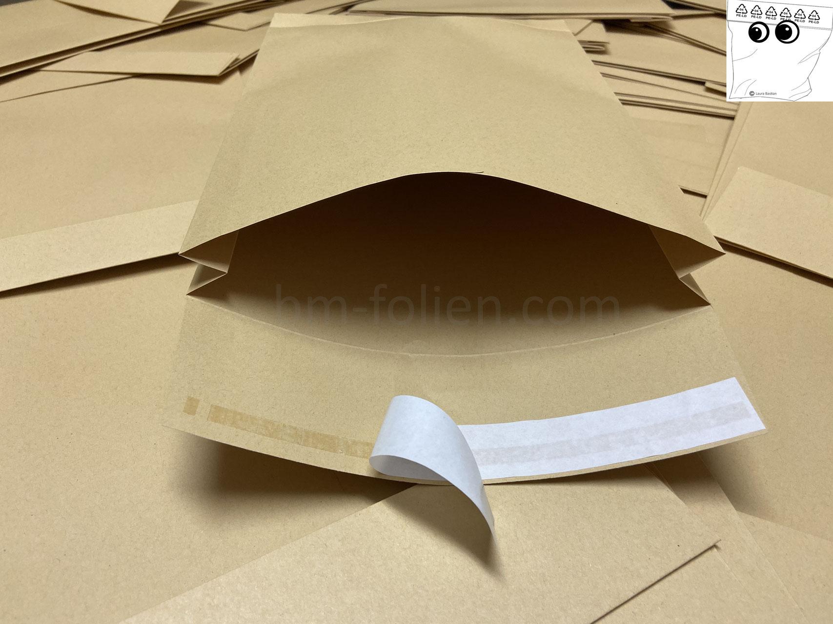 stabile 140 g//qm und sicher verpackt 100 Faltentaschen B 4-250 x 353 x 40 mm