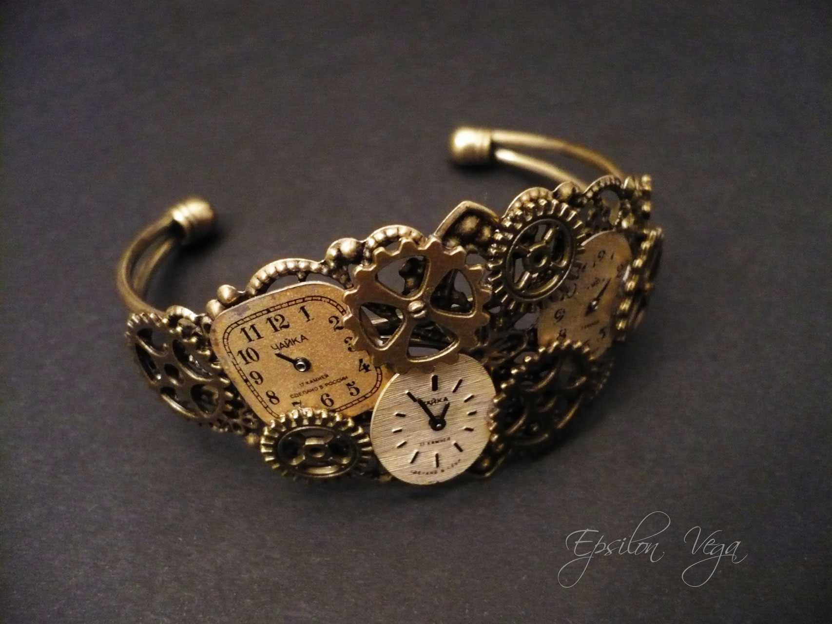 meilleur site web dernière collection nouvelle collection Bracelets récup - Epsilon Vega, bijoux rouages steampunk