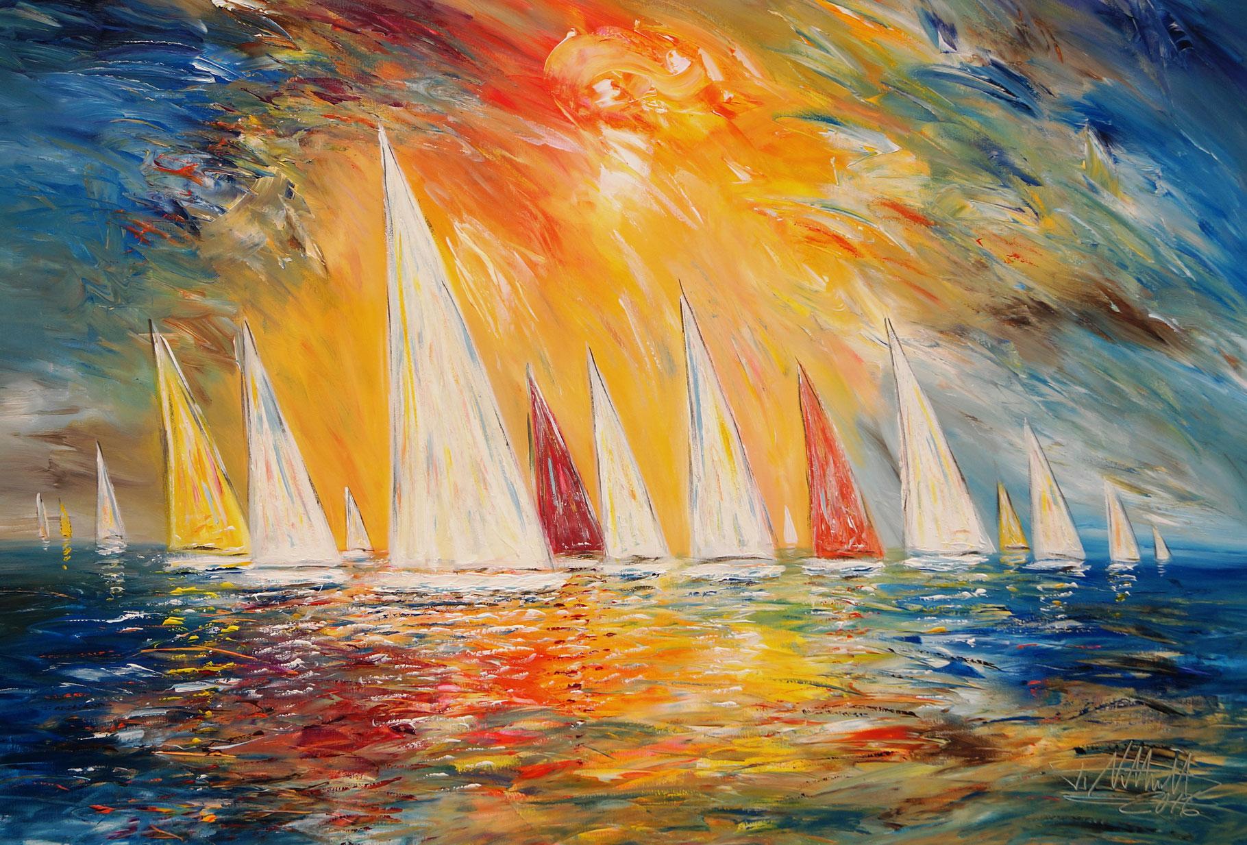sunny sailing regatta m2 abstrakte gem lde moderne malerei online kaufen. Black Bedroom Furniture Sets. Home Design Ideas