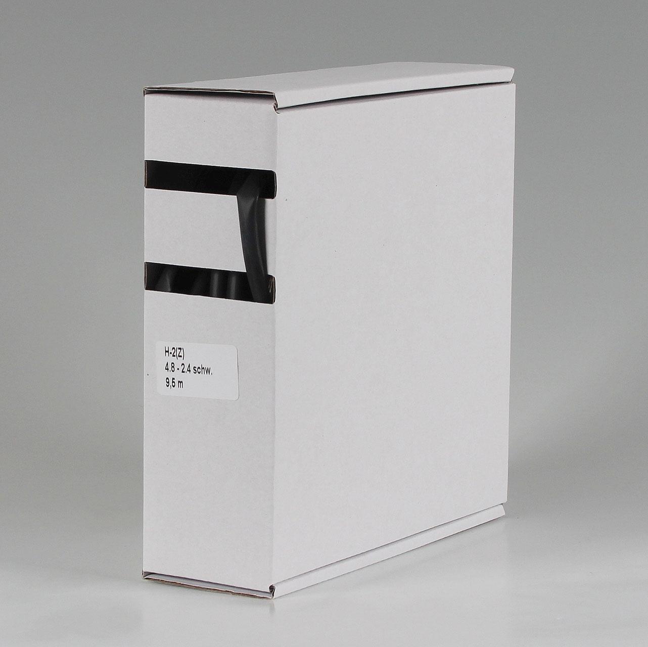 SCHRUMPFSCHLAUCH 4,8-2,4mm 2:1 schwarz 9,5m in praktischer Abrollbox 1,10€//m