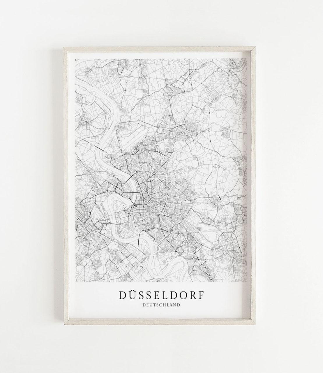 Dusseldorf Karte Als Poster Skanemarie