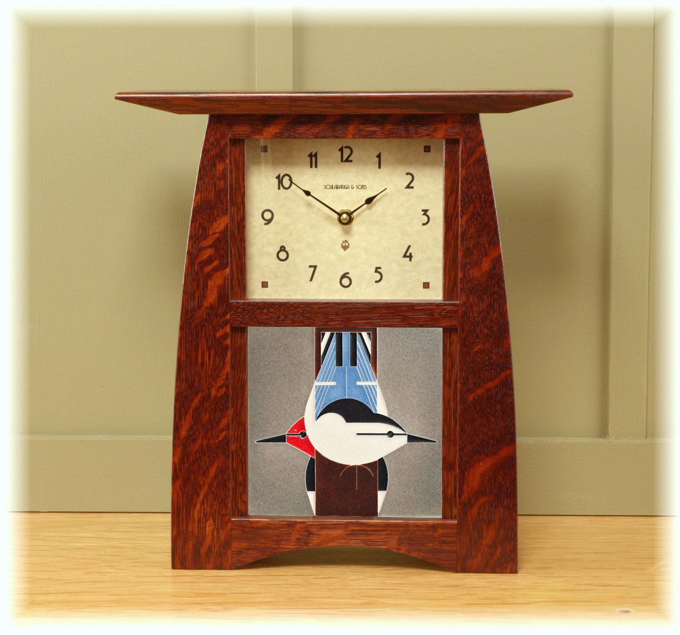 Arts & Crafts Tile Clock with your choice of any handcrafted Motawi ...