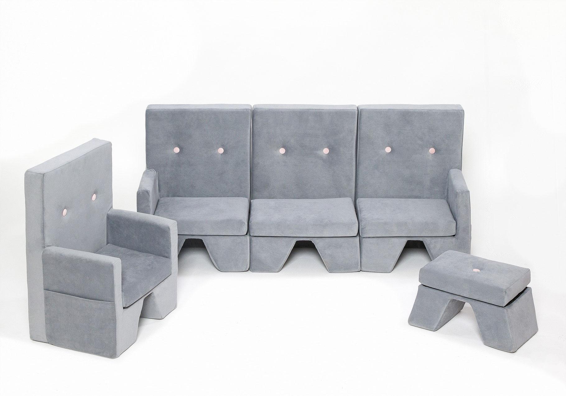 Set sofa premium 3er sofa sessel hocker hellgrau for Sofa zeichnen kinder