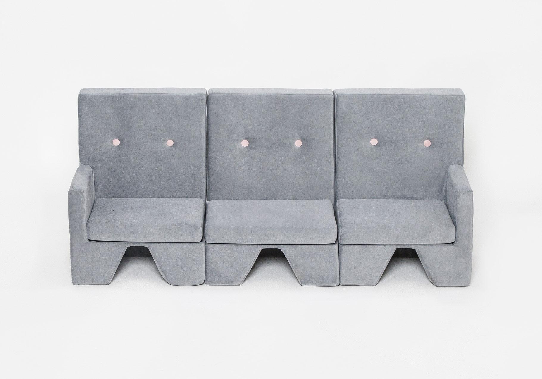 Set sofa premium 3er sofa hellgrau eged living style for Sofa zeichnen kinder