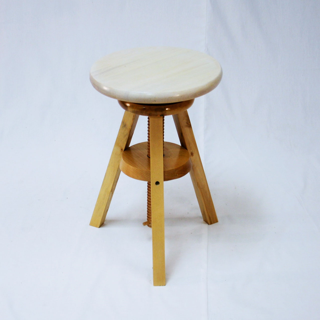 Wooden Adjustable Stools With White Seats Ehemco