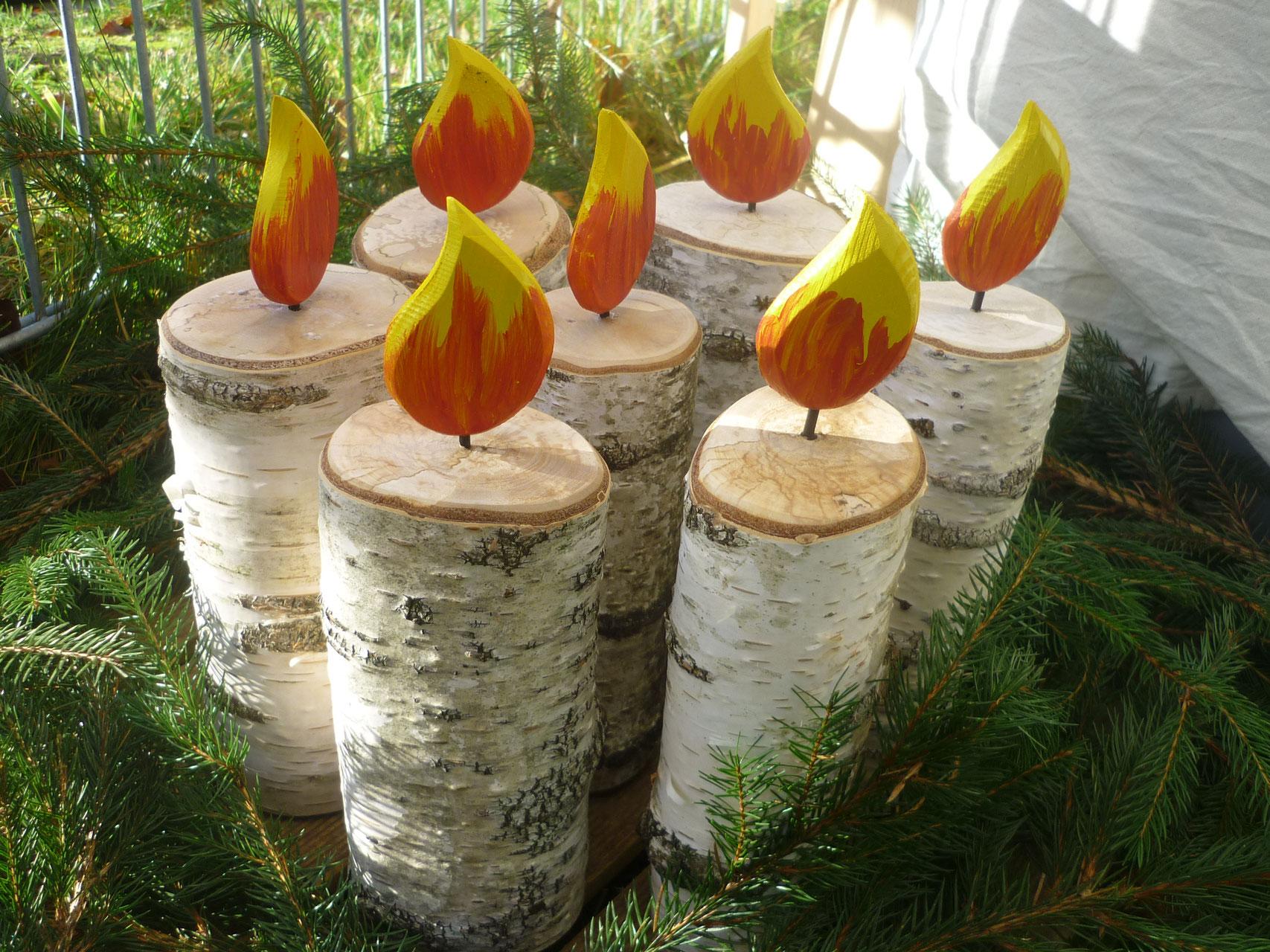 Birkenholz kerze deko aus holz - Deko aus birkenholz ...