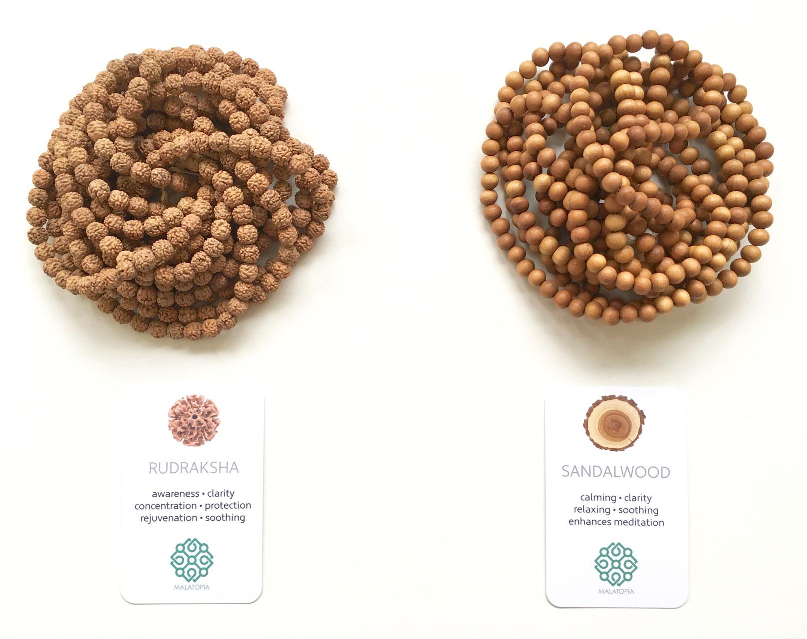 Ebony, Rudraksha, Sandalwood Beads
